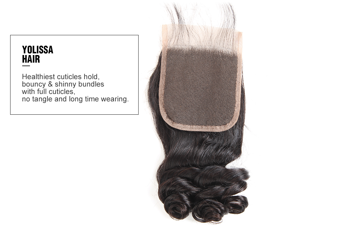 brazilian virgin hair loose wave bundles with lace closure