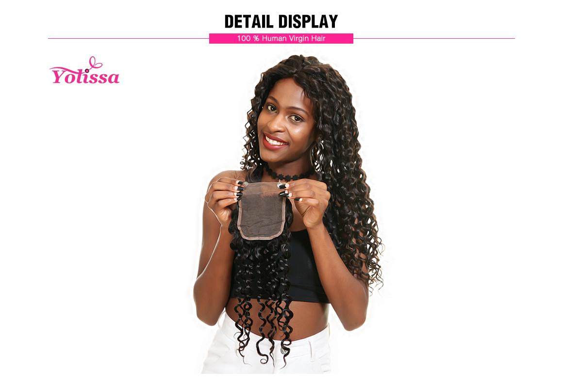 Yolissa Water Wave Brazilian Hair 4*4 Soft Lace Frontal Closure Real Human Virgin Hair