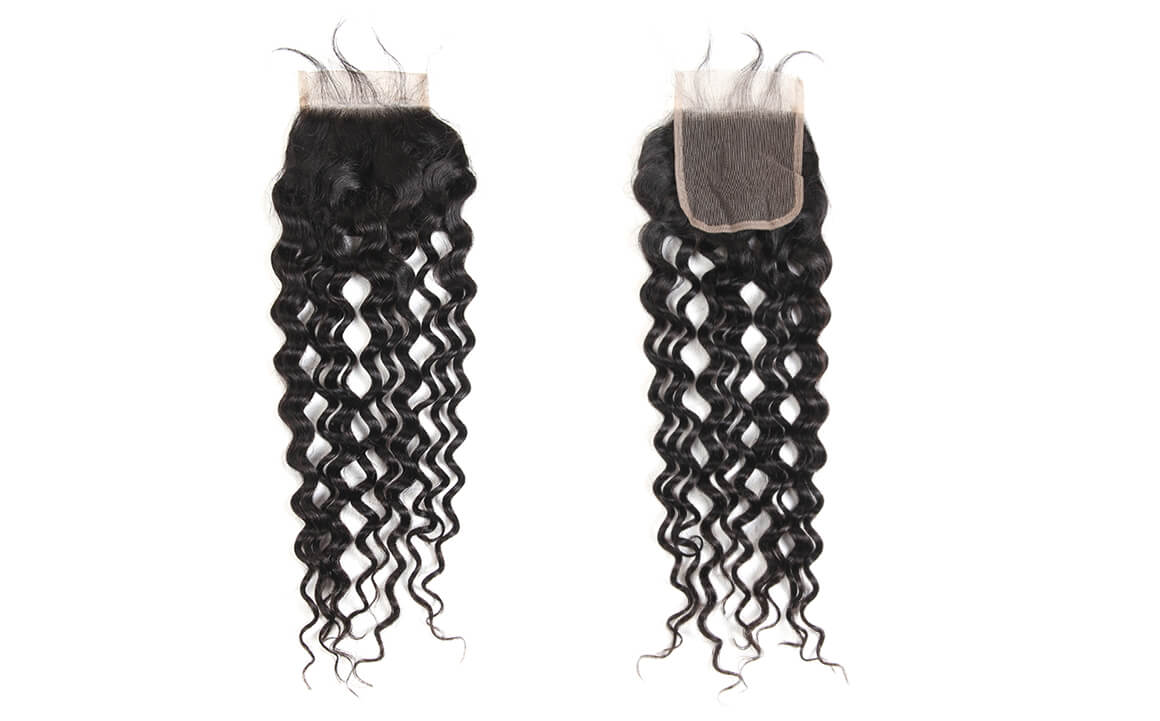 peruvian virgin hair water wave bundles with lace closure