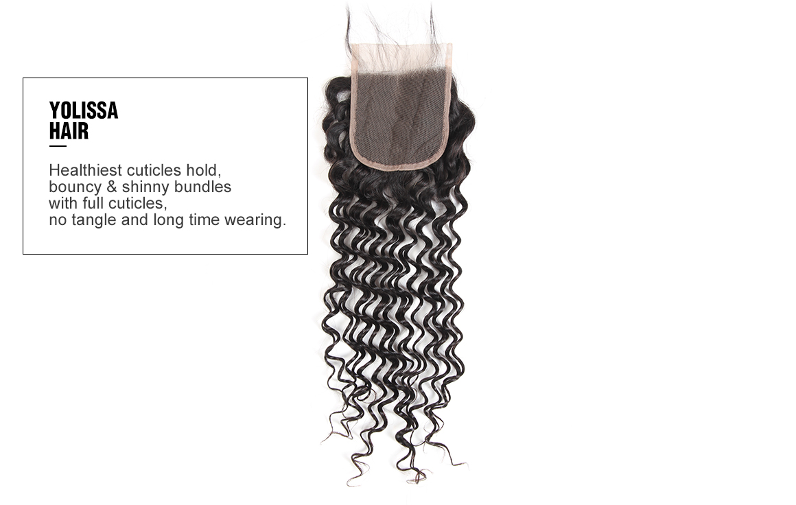 Yolissa 4 hair bundles with the deep wave 4x4 lace closure