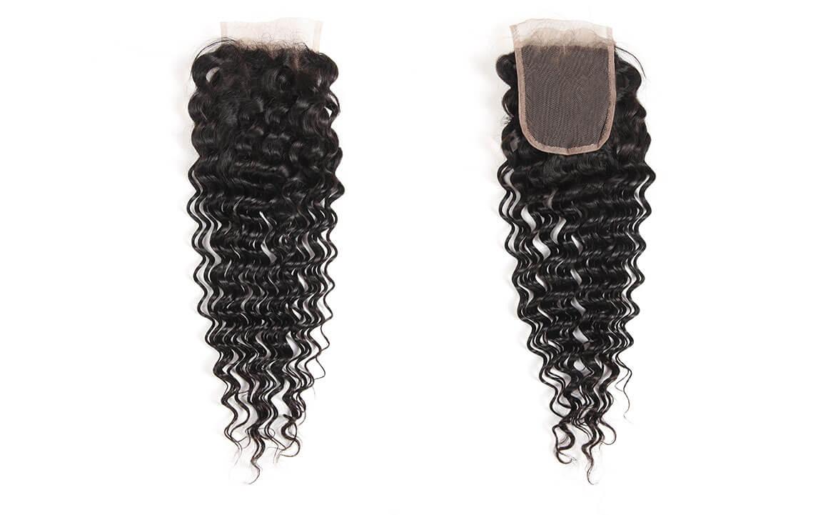 Brazilian Natural Black Deep Wave Human Virgin Hair 4x4 Lace Closure