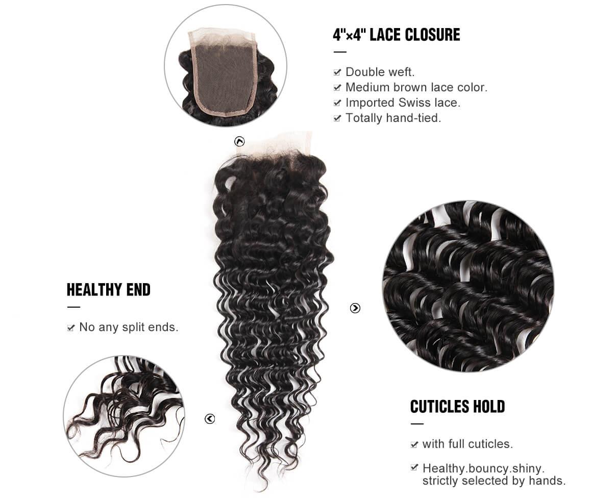 Deep Wave Brazilian Natural Black Virgin Hair Lace Closure