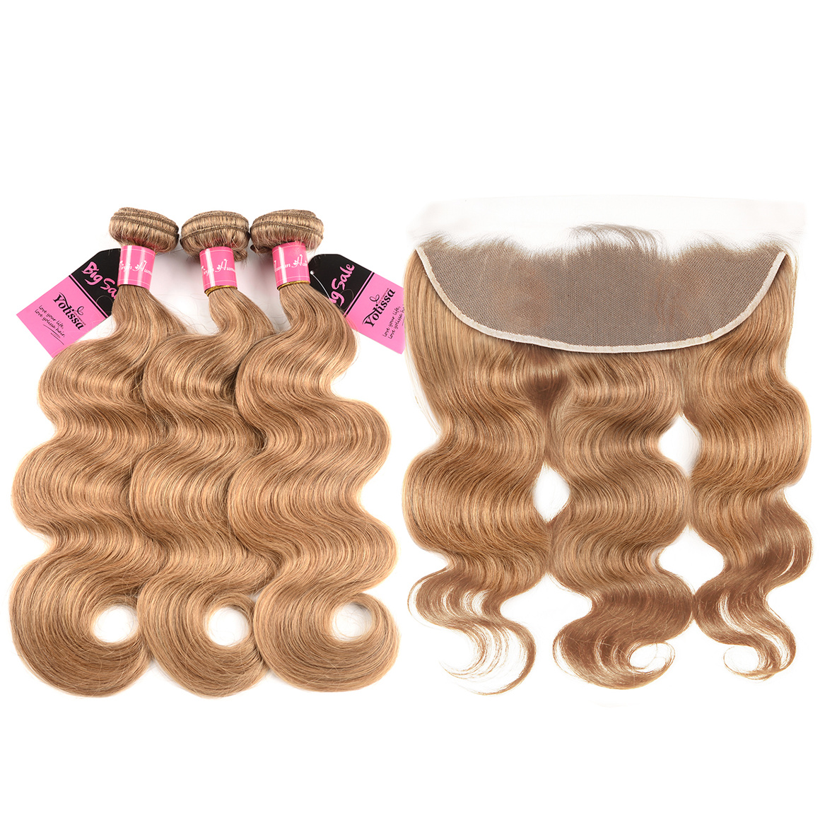 #27 Body Wave Hair 3 Bundles With Frontal