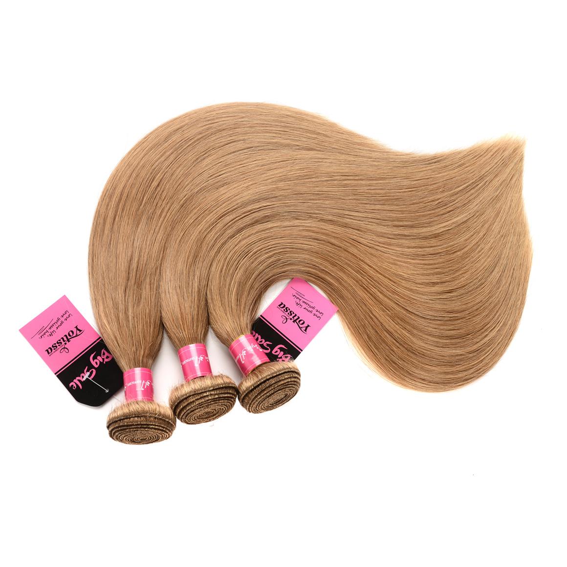 Straight Hair Honey Blonde 3 Bundles With Closure 4×4
