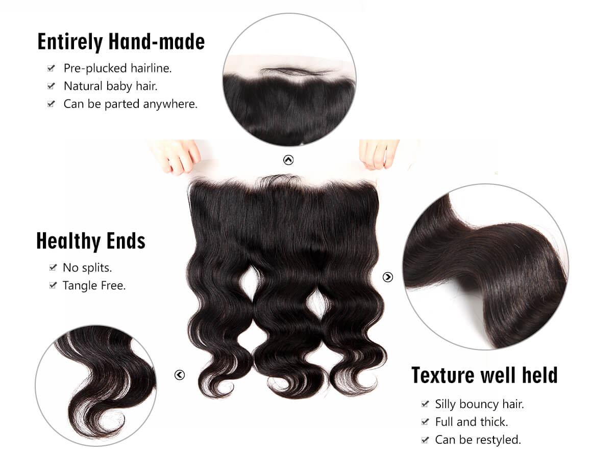 malaysian body wave virgin hair bundles with frontal 13 by 4