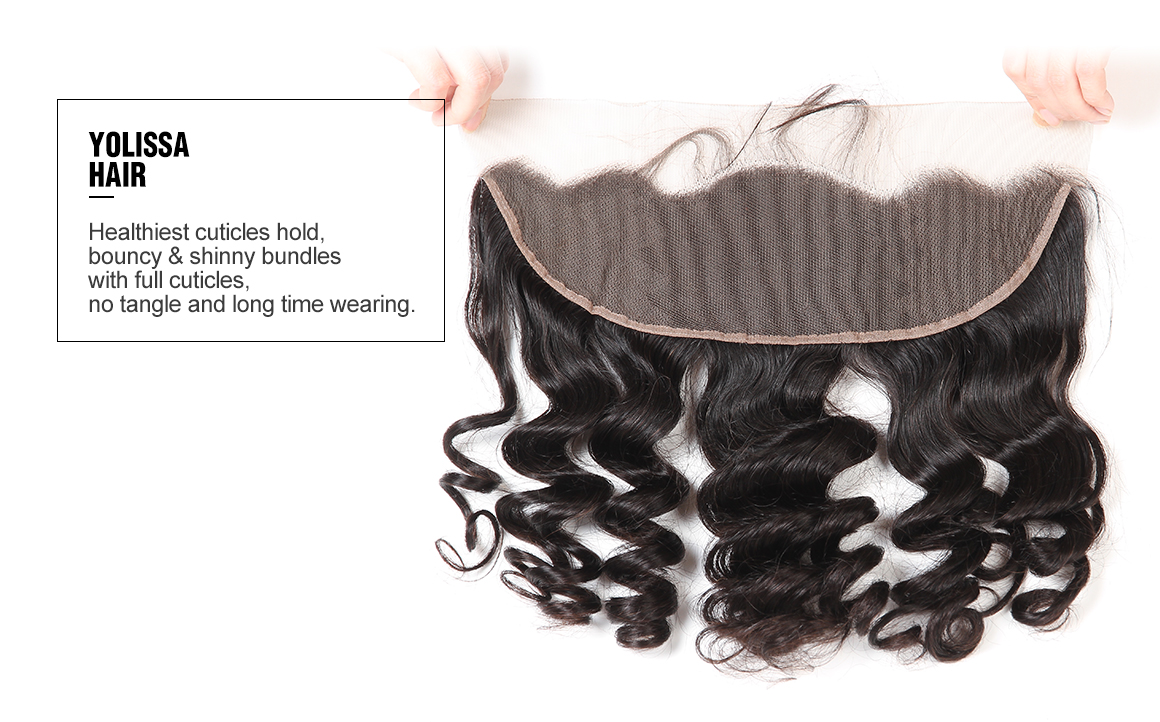 brazilian human hair loose wave bundles with lace frontal
