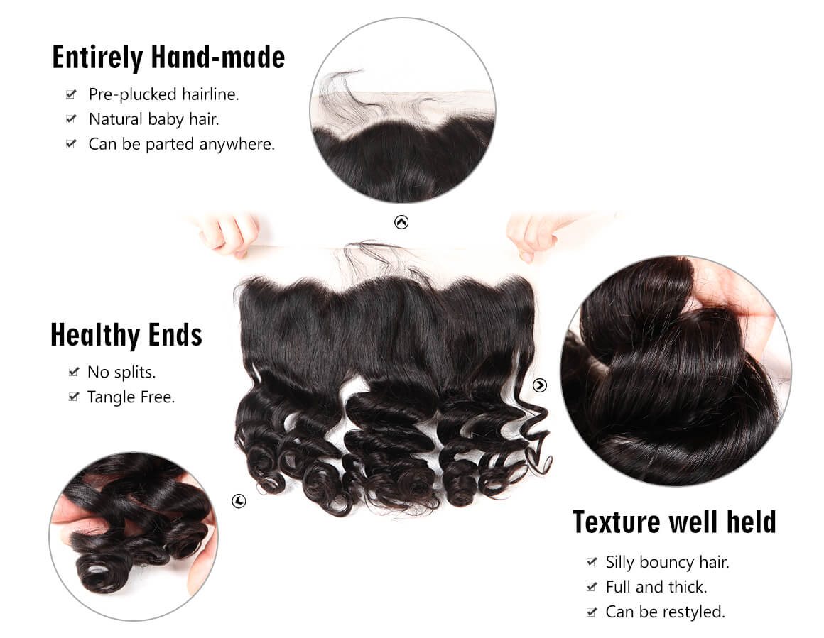 malaysian virgin hair loose wave bundles with lace frontal