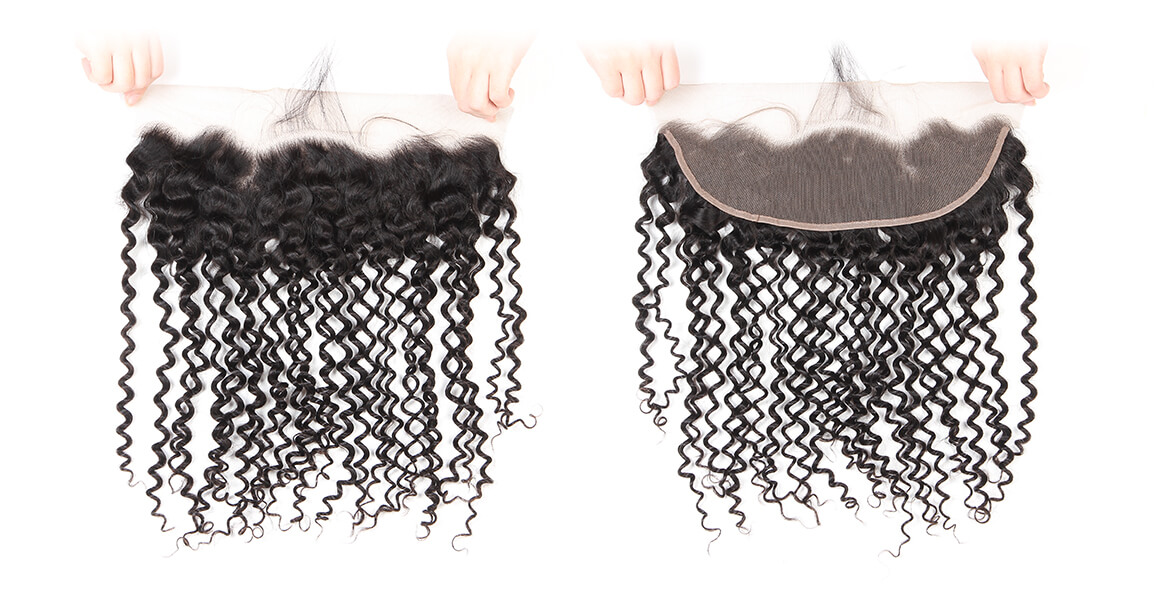 malaysian virgin hair curly bundles with lace frontal