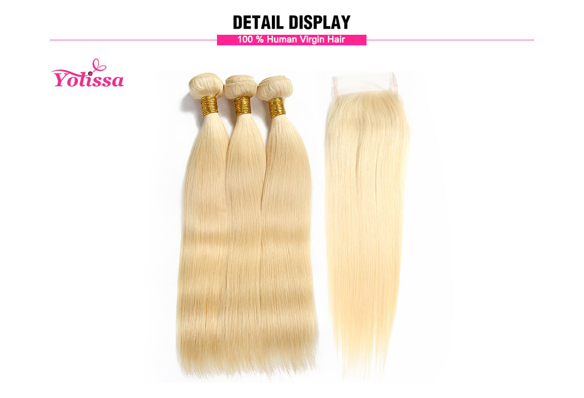 Blonde straight 4x4 lace closure with 3 virgin hair bundles