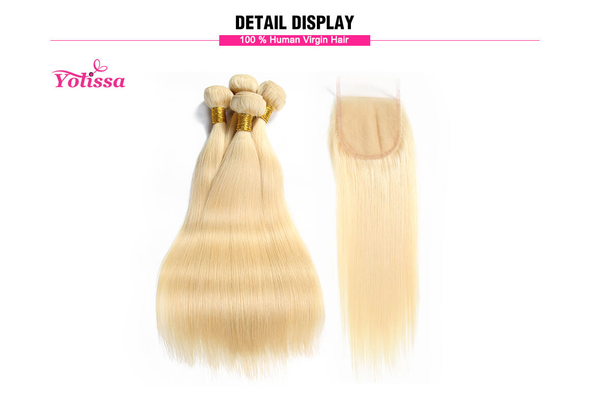 613 Straight Blonde Hair 4 Bundles