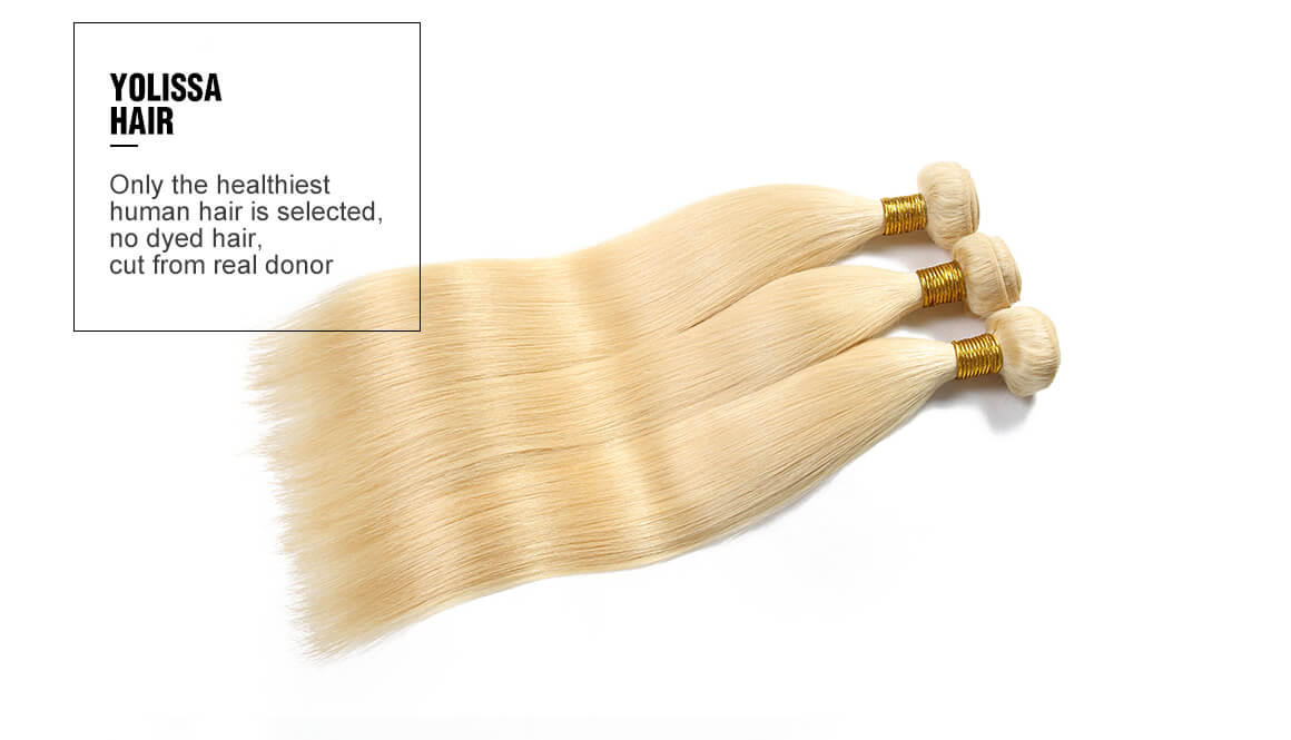 3 straight  virgin hair bundles with blonde 4x4 lace closure