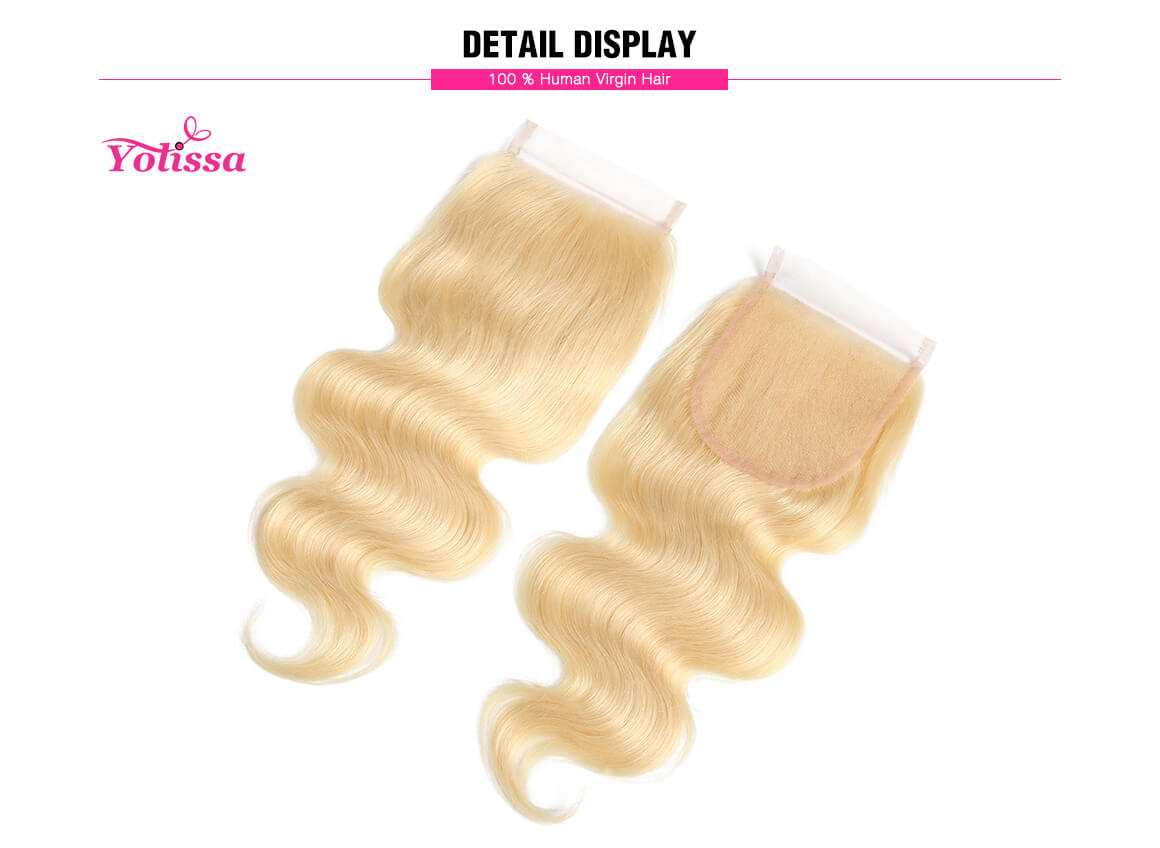 613 Body Wave 10-20inches Human Hair Lace Closure
