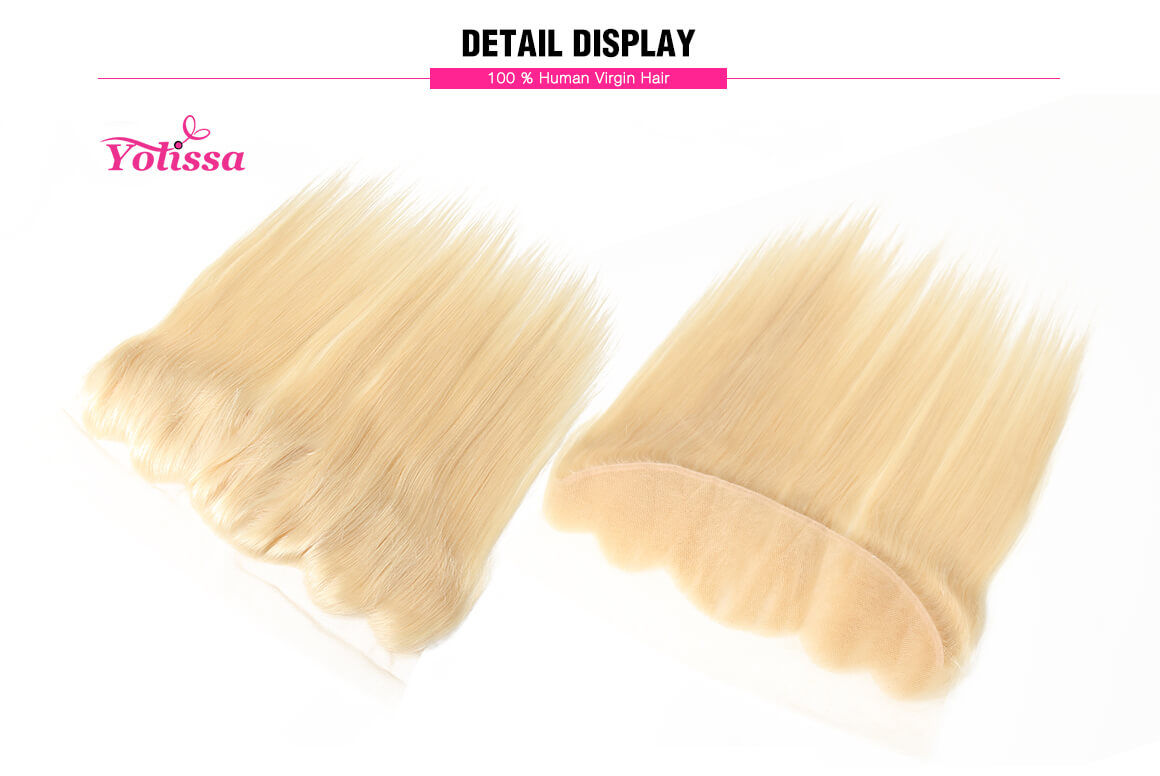#613 Blonde Straight Hair Lace Frontal Closure