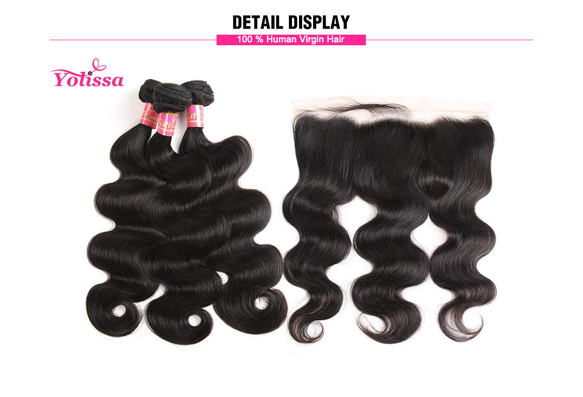 brazilian human hair body wave bundles with lace frontal
