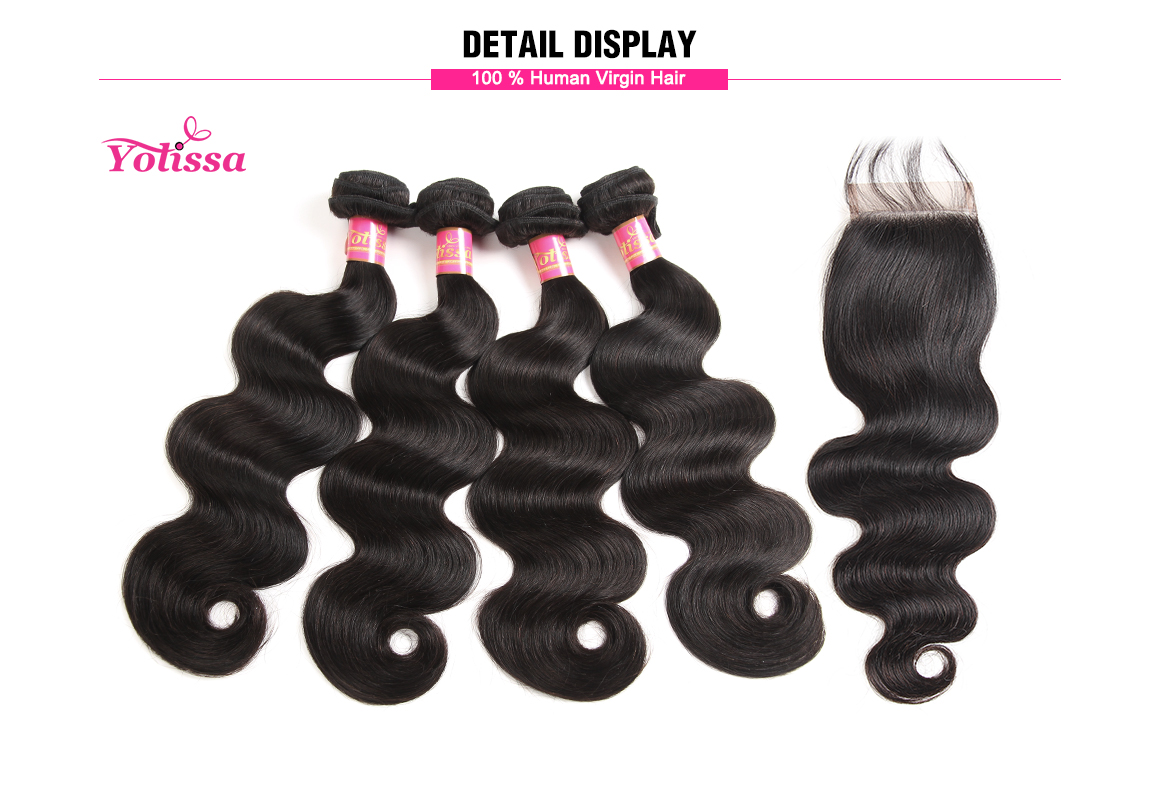 body wave 4 bundles with lace closure 4x4