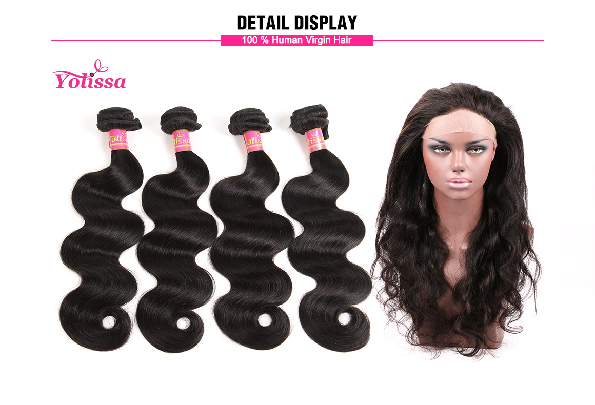 brazilian human hair body wave bundles with 360 lace frontal