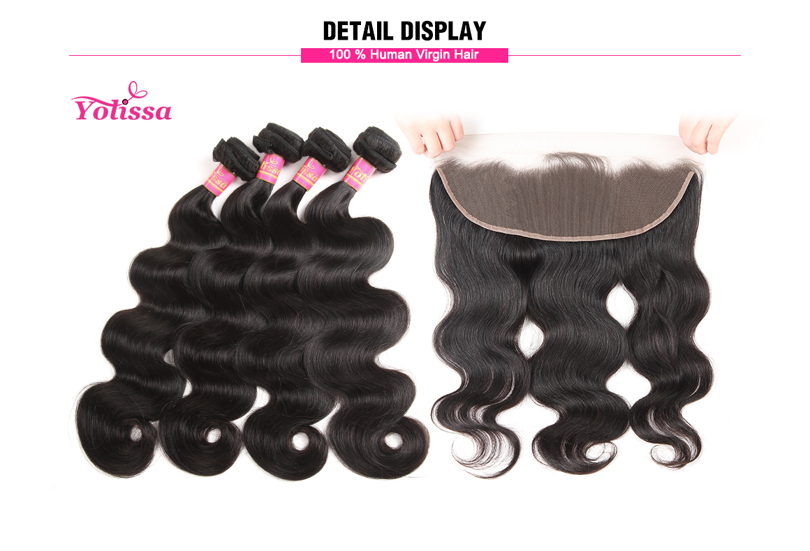 brazilian remy hair body wave bundles with lace frontal 13*4