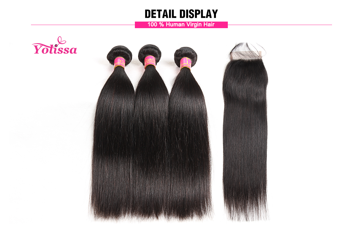 brazilian hair straight bundles with closure 4*4