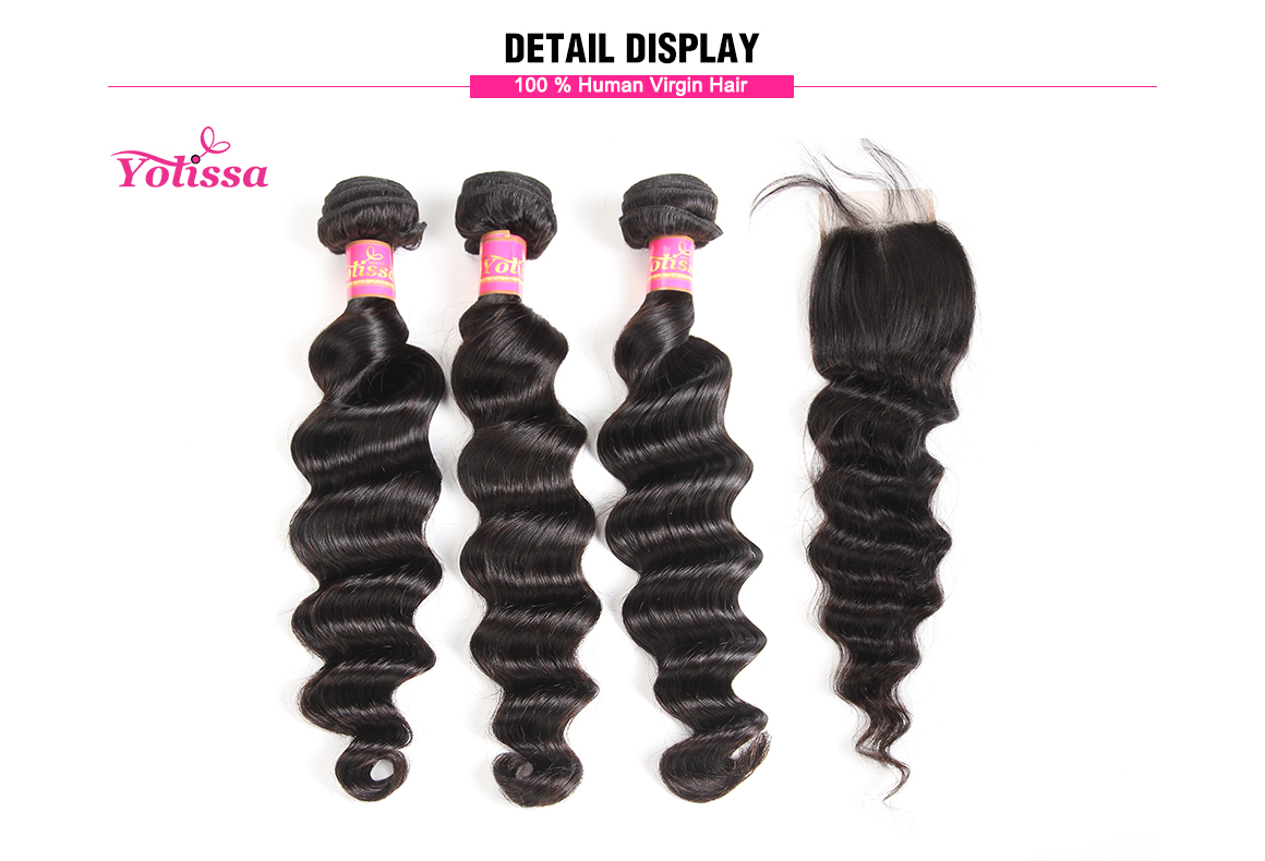 brazilian loose deep wave virgin hair bundles with lace closure