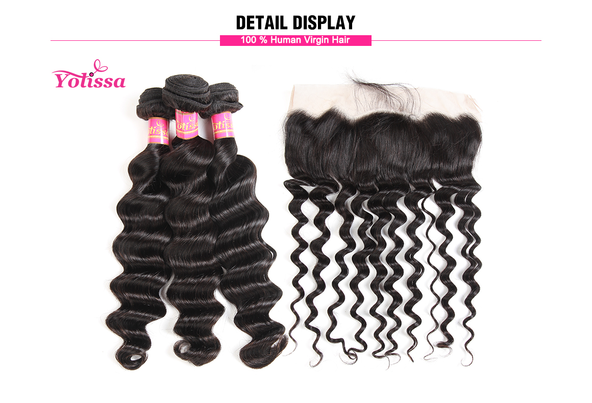 brazilian loose deep wave virgin hair bundles with lace frontal