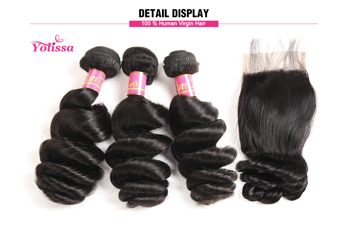 peruvian loose wave virgin hair bundles with lace closure