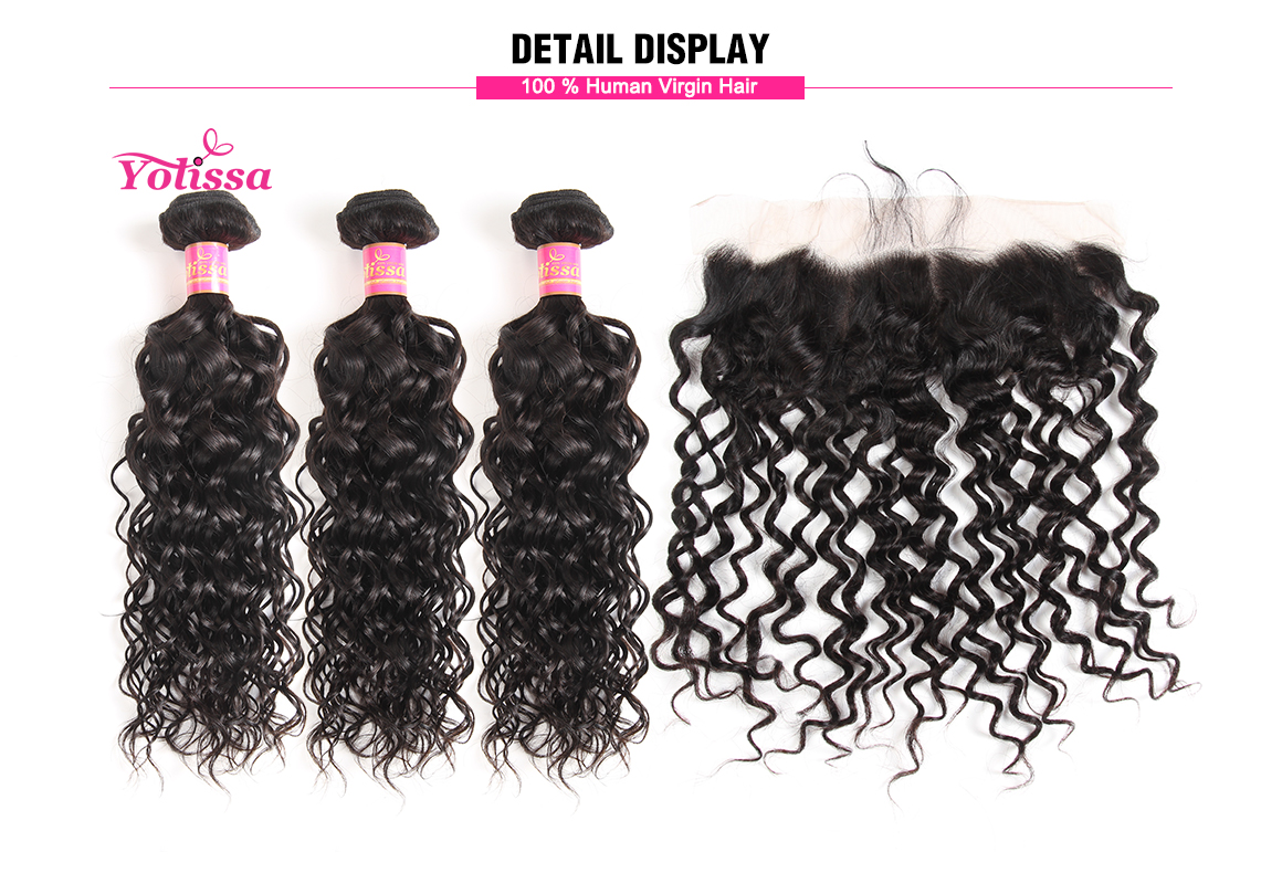 malaysian water wave virgin hair bundles with lace frontal