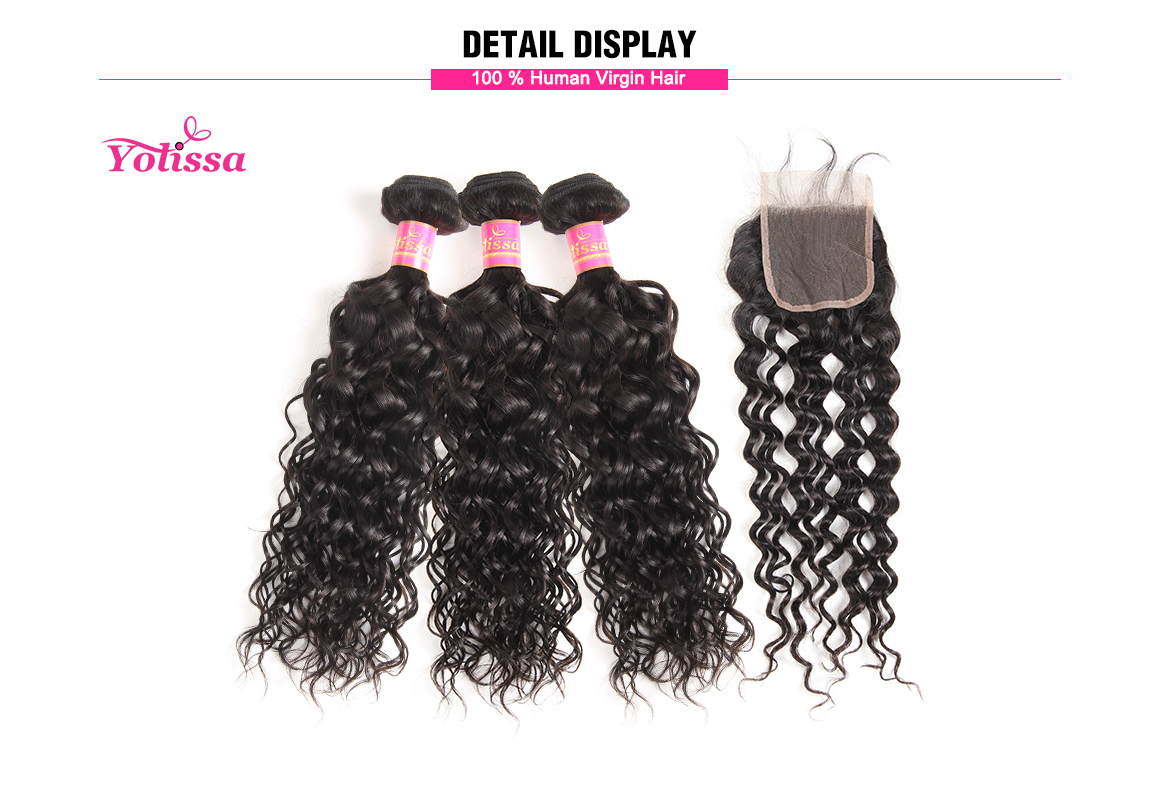 peruvian water wave virgin hair bundles with lace closure
