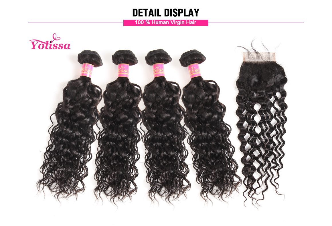 brazilian water wave virgin hair bundles with lace closure