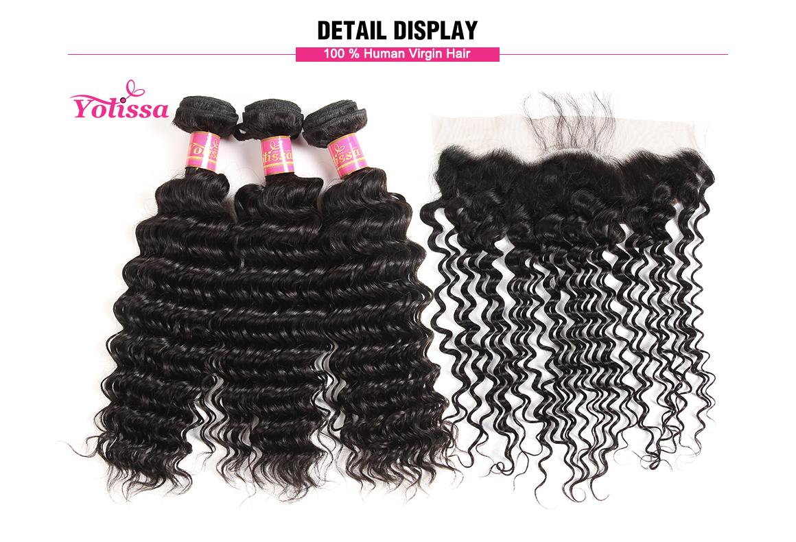 Yolissa Lace Frontal Closure with 3 Bundles Deep Wave Virgin Brazilian Hair Weaving