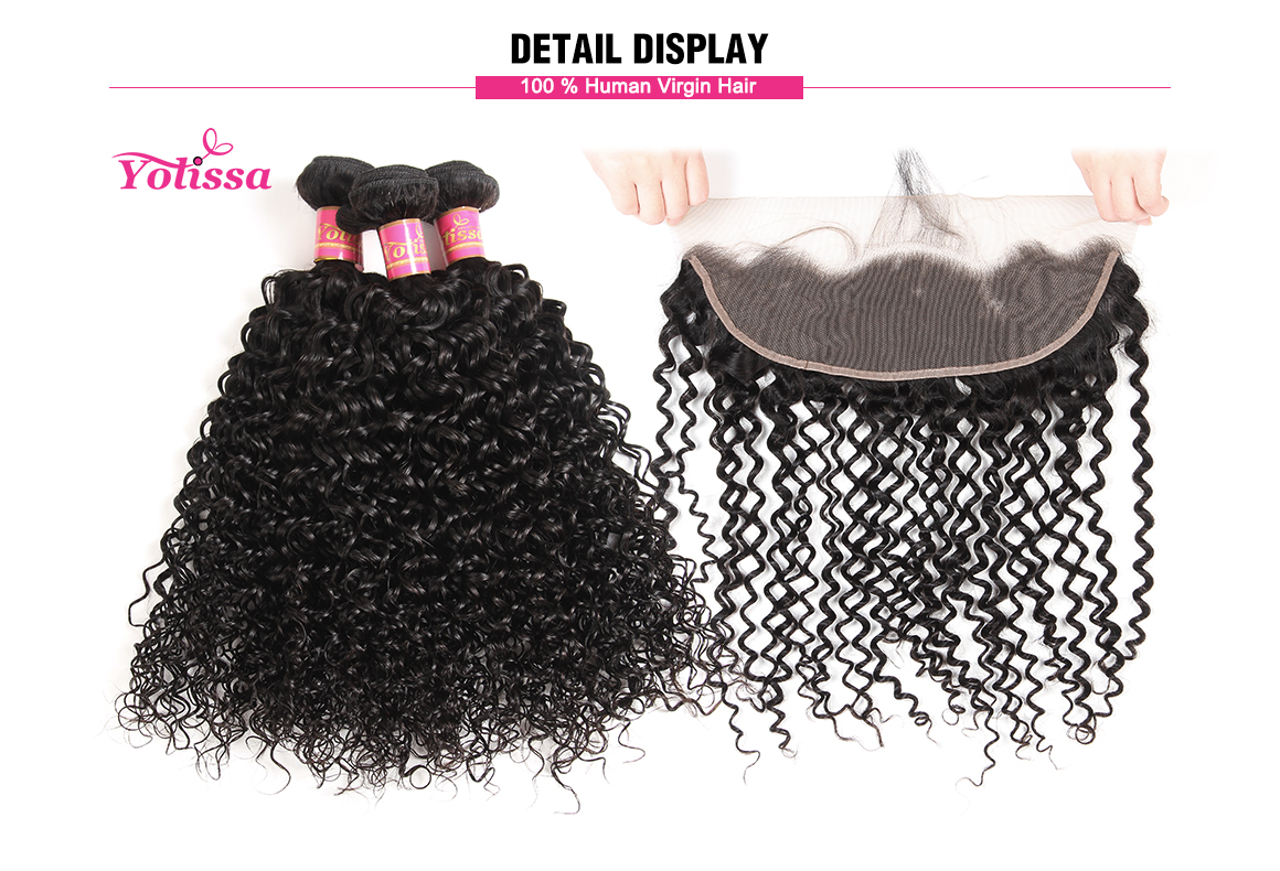 malaysian curly virgin hair bundles with lace frontal