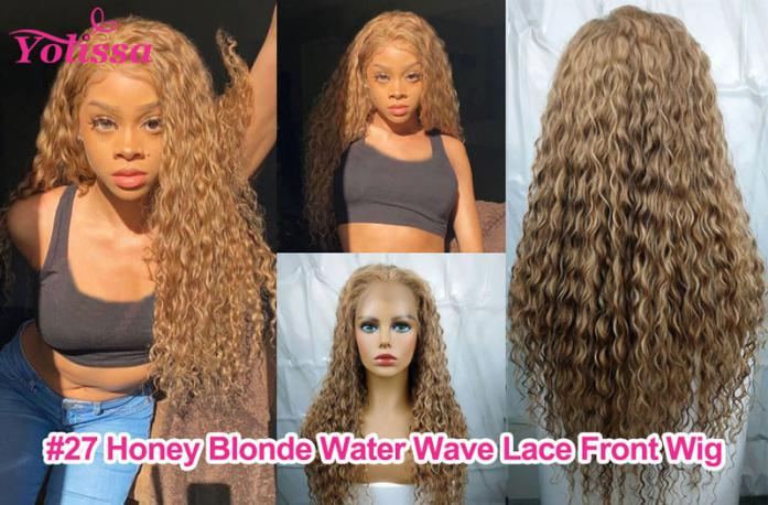 #27 Honey Blonde Water Wave Lace Front Wig