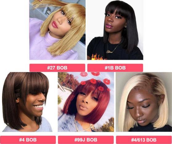 5 colors of bob wigs