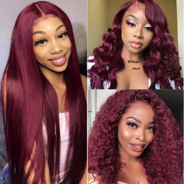 99J burgundy lace part wig