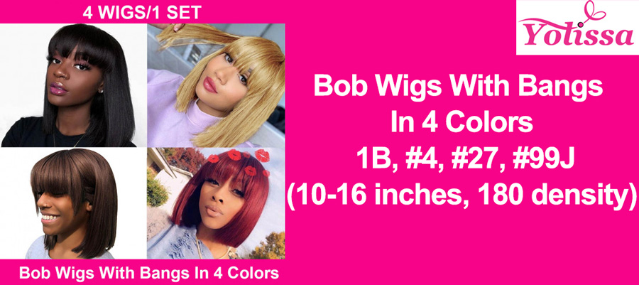 Pay one get four bob wigs: Bob wigs with bang in 4 colors