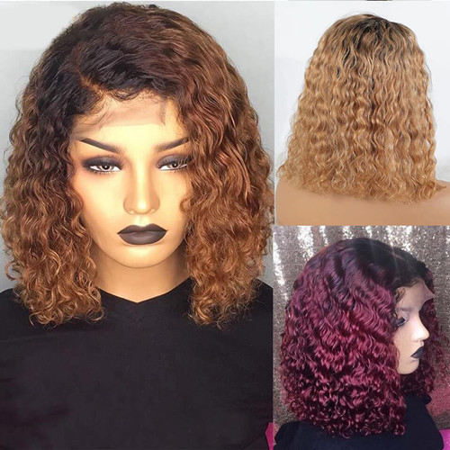 Colored Water wave BOB Lace Front Wig