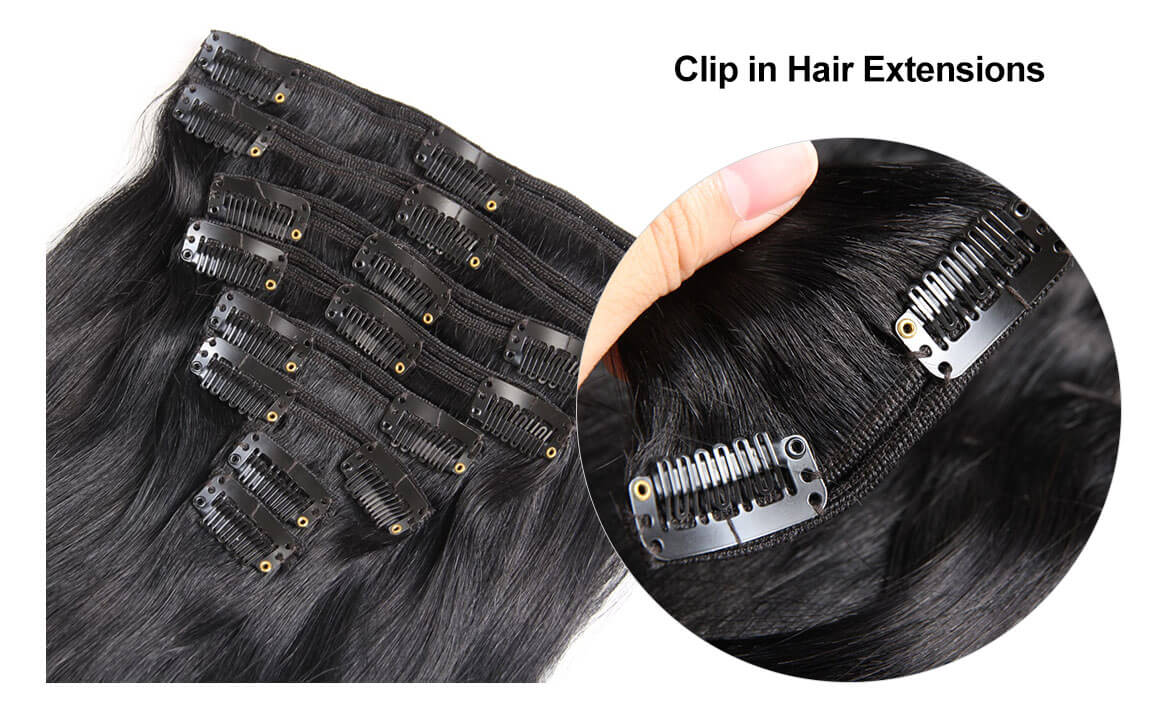 14-22 Inch Straight Clip In Hair Extensions Flash Sale