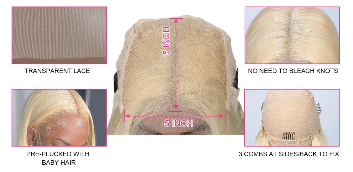613 blonde 5x5 closure wig