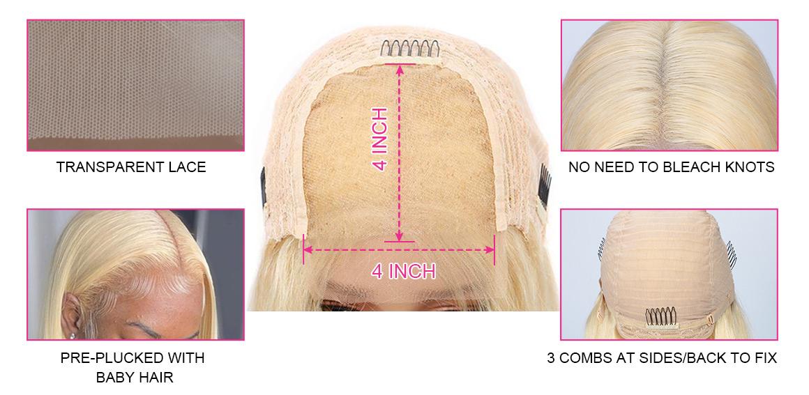 613 blonde 4x4 closure wig